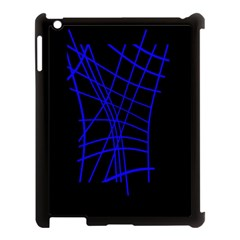 Neon blue abstraction Apple iPad 3/4 Case (Black)