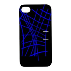 Neon blue abstraction Apple iPhone 4/4S Hardshell Case with Stand