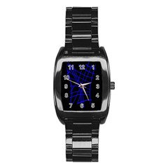 Neon blue abstraction Stainless Steel Barrel Watch