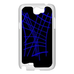 Neon blue abstraction Samsung Galaxy Note 2 Case (White)