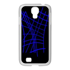 Neon blue abstraction Samsung GALAXY S4 I9500/ I9505 Case (White)
