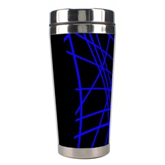 Neon blue abstraction Stainless Steel Travel Tumblers