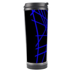 Neon blue abstraction Travel Tumbler