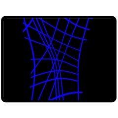 Neon blue abstraction Double Sided Fleece Blanket (Large)