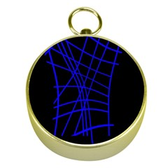 Neon blue abstraction Gold Compasses