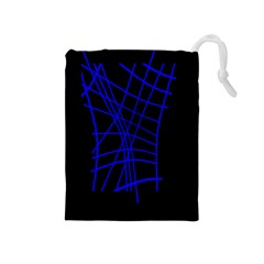 Neon blue abstraction Drawstring Pouches (Medium)