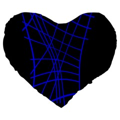 Neon blue abstraction Large 19  Premium Flano Heart Shape Cushions