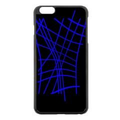 Neon blue abstraction Apple iPhone 6 Plus/6S Plus Black Enamel Case
