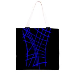 Neon blue abstraction Grocery Light Tote Bag