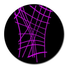 Neon purple abstraction Round Mousepads