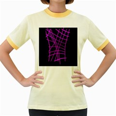 Neon purple abstraction Women s Fitted Ringer T-Shirts