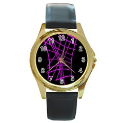 Neon purple abstraction Round Gold Metal Watch