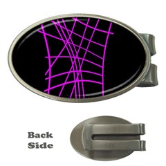 Neon purple abstraction Money Clips (Oval)