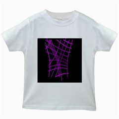 Neon purple abstraction Kids White T-Shirts