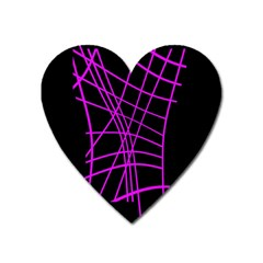 Neon purple abstraction Heart Magnet
