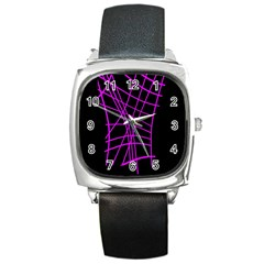 Neon purple abstraction Square Metal Watch
