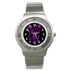 Neon purple abstraction Stainless Steel Watch