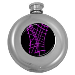 Neon purple abstraction Round Hip Flask (5 oz)