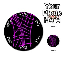 Neon purple abstraction Playing Cards 54 (Round)