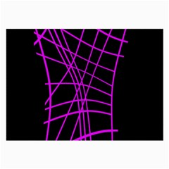 Neon purple abstraction Large Glasses Cloth