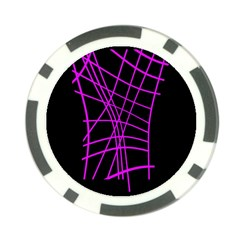 Neon purple abstraction Poker Chip Card Guards