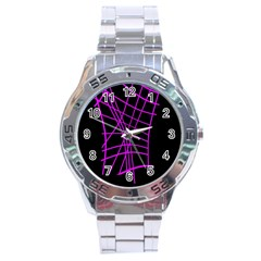 Neon purple abstraction Stainless Steel Analogue Watch