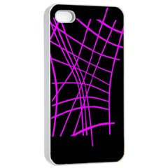 Neon purple abstraction Apple iPhone 4/4s Seamless Case (White)