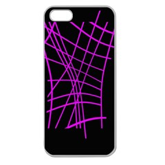 Neon purple abstraction Apple Seamless iPhone 5 Case (Clear)