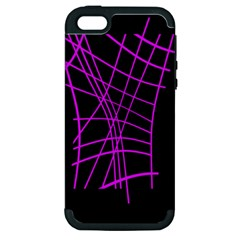 Neon purple abstraction Apple iPhone 5 Hardshell Case (PC+Silicone)