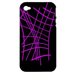 Neon Purple Abstraction Apple Iphone 4/4s Hardshell Case (pc+silicone)