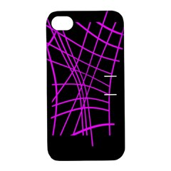Neon purple abstraction Apple iPhone 4/4S Hardshell Case with Stand