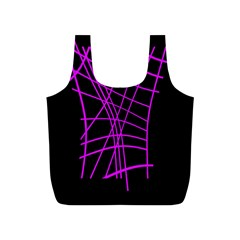 Neon purple abstraction Full Print Recycle Bags (S)
