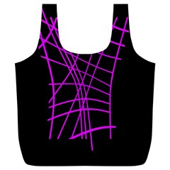 Neon purple abstraction Full Print Recycle Bags (L)
