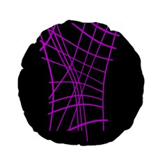 Neon purple abstraction Standard 15  Premium Flano Round Cushions