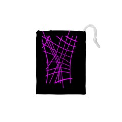 Neon purple abstraction Drawstring Pouches (XS)