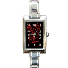 Neon red abstraction Rectangle Italian Charm Watch