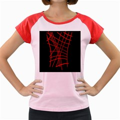 Neon red abstraction Women s Cap Sleeve T-Shirt