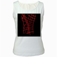 Neon red abstraction Women s White Tank Top