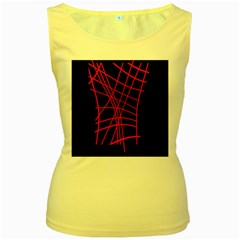 Neon red abstraction Women s Yellow Tank Top