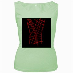Neon red abstraction Women s Green Tank Top