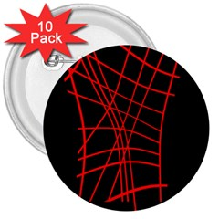 Neon red abstraction 3  Buttons (10 pack)