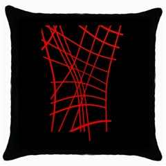 Neon red abstraction Throw Pillow Case (Black)