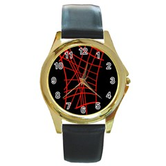 Neon red abstraction Round Gold Metal Watch