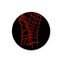 Neon red abstraction Rubber Round Coaster (4 pack)