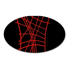Neon red abstraction Oval Magnet