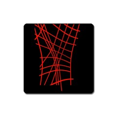 Neon red abstraction Square Magnet