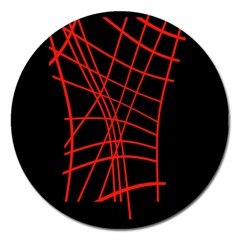 Neon red abstraction Magnet 5  (Round)