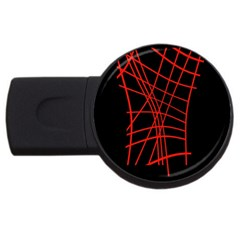 Neon red abstraction USB Flash Drive Round (2 GB)