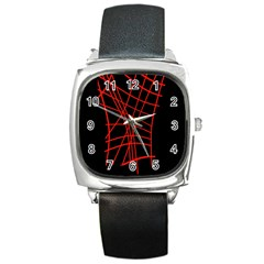 Neon red abstraction Square Metal Watch
