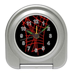 Neon red abstraction Travel Alarm Clocks